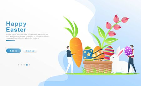 Vector illustration happy easter. 2 people with happy bring carrots and Easter ornamental eggs, decorative eggs concept in a basket, rabbits, flowers. for header, web, banner. apps. Flat cartoon style