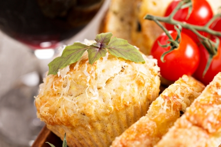 Savoury cake with tomatoes, cheese and olives Stock Photo