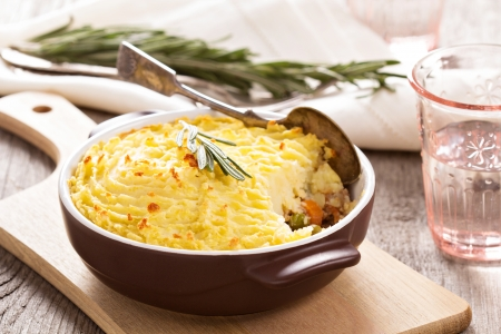 Sheperds pie (baked mashed potatoes and ground beef with vegetables) photo