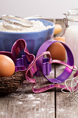 easter cookie: Baking for Easter - cookie cutters and ingredients