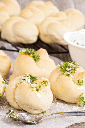 Dinner rolls with parmesan, herbs and garlic