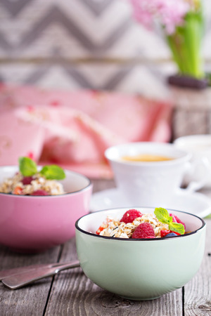 Berry dessert: raspberries, blueberries and strawberries with crumble topping