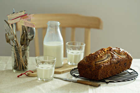 Banana bread with milk on a table photo