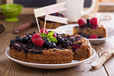 Berry cake with oats served with fresh berries photo