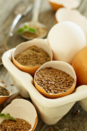 allergic ingredients: Chia seeds and flaxseed - egg replacers placed in egg shells Stock Photo