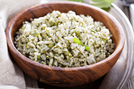 basmati rice: Green rice with herbs Stock Photo