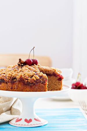 coffee and cake: Cherry crumble coffee cake with cinnamon Stock Photo