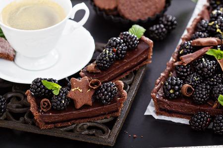 Delicious chocolate ganache tart with fresh blackberries