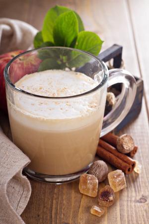 Apple pie latte with cinnamon, nutmeg and apple syrup photo