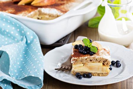 strata: Appele wholewheat bread strata with cream cheese glaze Stock Photo