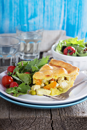Savory pie with chicken photo