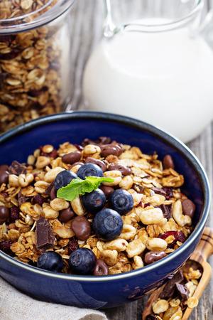 Chocolate breakfast granola in a bowl photo