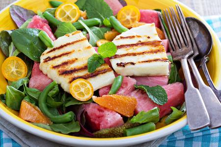 haloumi: Salad with fresh watermelon and haloumi cheese