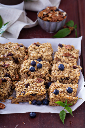 pecans: Vegan baked oatmeal squares with pecans, raisins and fresh blueberry