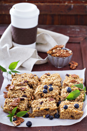 Vegan baked oatmeal squares with pecans, raisins and fresh blueberry Stock fotó - 35083175