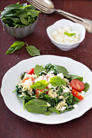 crumbled: Pasta salad with orzo, spinach, tomato and feta