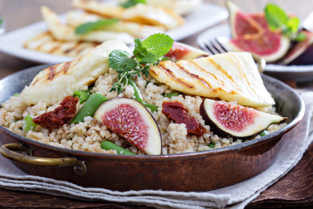 couscous: Spiced cous-cous with grilled haloumi and figs