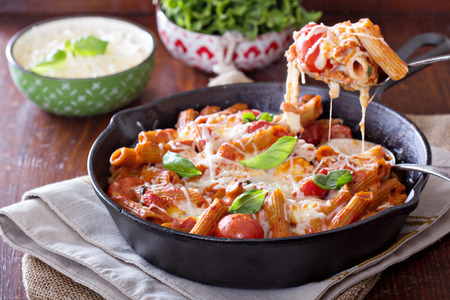 pasta: Pasta bake with penne, tomatoes and mozarella