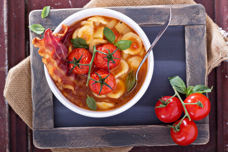 Tomato soup with pasta photo