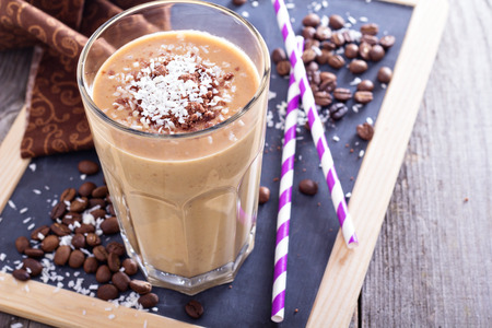 fruit smoothie: Coconut coffee chocolate smoothie Stock Photo