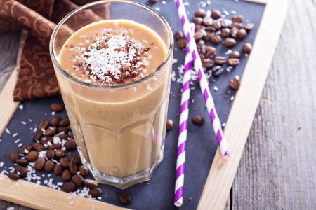 Kókuszos kávé csokoládé turmix Stock fotó