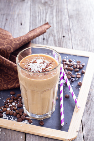 fruit shake: Coconut coffee chocolate smoothie Stock Photo