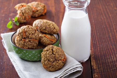 carrot cakes: Healthy oatmeal carrot cookies Stock Photo
