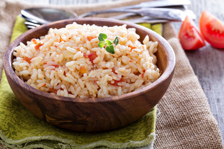 Rice with tomatoes and onions Stock Photo