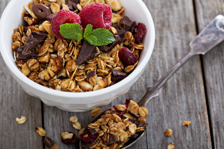 Chocolate granola for breakfast Stock Photo