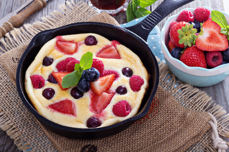 Pancake with berries fluffy and colorful photo