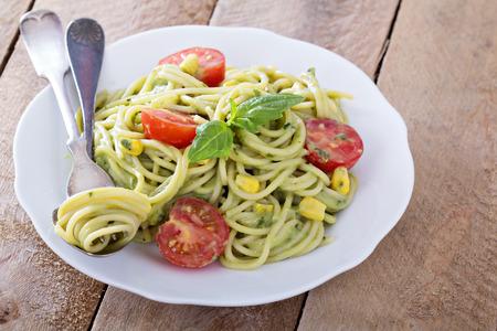 Vegan pasta with avocado sauce photo