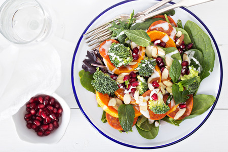 pomergranate: Salad with vegetables, pepperoni and pomergranate Stock Photo