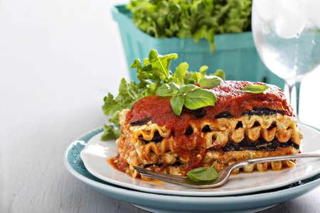 Vegan lasagna with eggplant and tofu photo