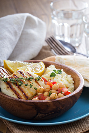 haloumi: Chickpea salad, cous-cous and grilled cheese