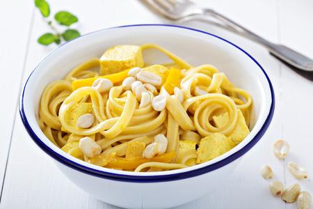 Vegan curry pasta with tofu photo