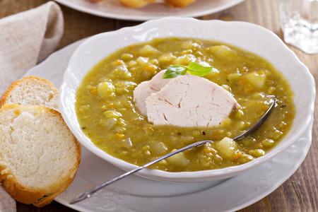 Hearty chicken split pea soup photo