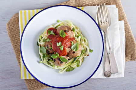 Turkey meatballs with zucchini noodles and tomato sauce