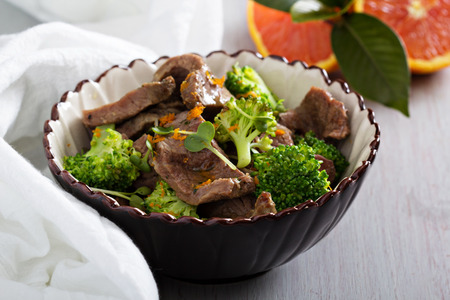 stewed: Beef stewed with broccoli and orange juice