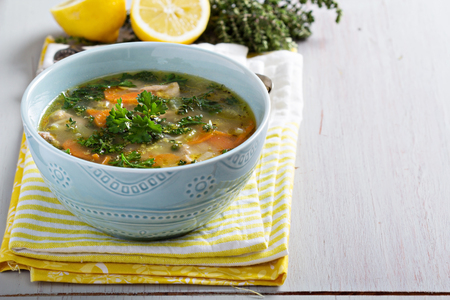 Lemon pasta chicken soup 스톡 콘텐츠