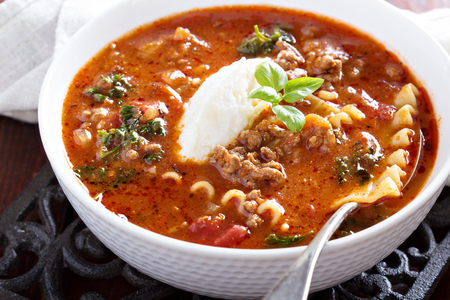 Lasagne soup with ground beef photo