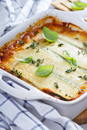 Healthy zucchini lasagna bolognese photo