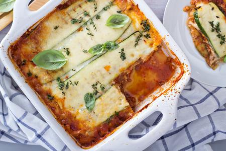 Healthy zucchini lasagna bolognese