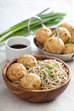 soba noodles: Soba noodles with chicken meatballs Stock Photo