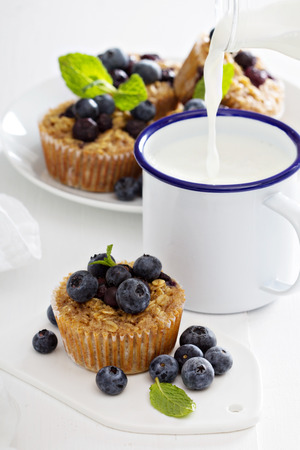 homemaking: Baked oatmeal muffins with blueberry
