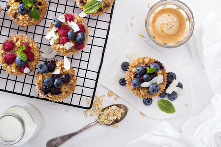 blueberry muffin: Oat muffin with coffee for breakfast