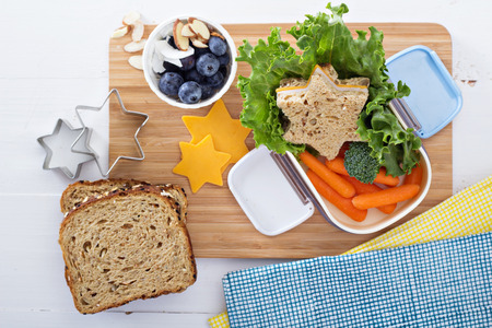 healthy lunch: Lunch box with sandwich and salad