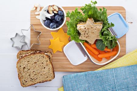 haciendo pan: Rect�ngulo de almuerzo con s�ndwich y ensalada