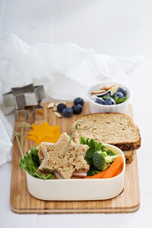 dinnertime: Lunch box with sandwich and salad