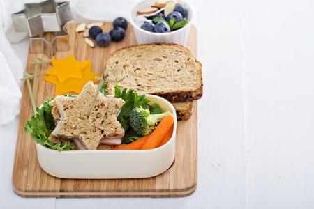 comiendo pan: Rectángulo de almuerzo con sándwich y ensalada