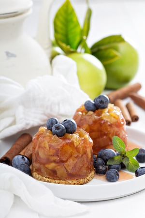Apple cakes with blueberries